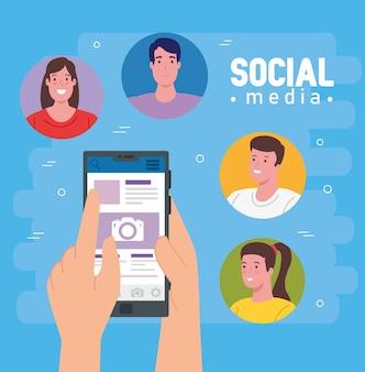 Médias sociaux, groupe de personnes communiquant par conception d'illustration de smartphone