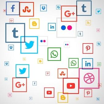 Médias sociaux icônes carrés fond