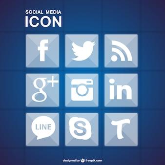 Médias sociaux icônes ensemble géométrique bleu