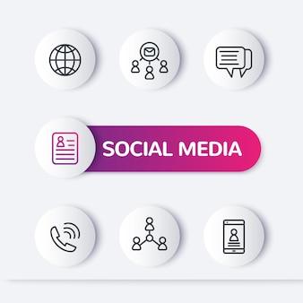 Médias sociaux, icônes de ligne de personnes