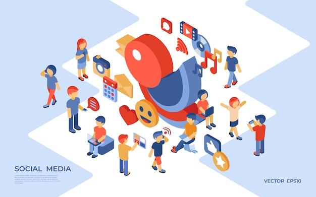Médias sociaux et illustration isométrique d'entreprise