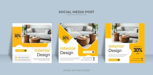 Les médias sociaux instagram poster design d'intérieur à vendre modèle de bannière vecteur premium