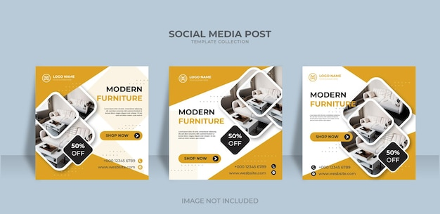 Les médias sociaux instagram publient des meubles modernes à vendre modèle de bannière vecteur premium