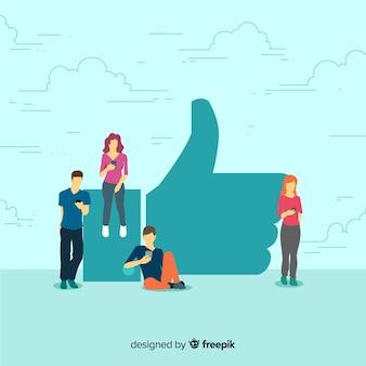Médias sociaux de jeunes dessinés à la main comme fond de concept