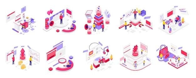Médias sociaux et marketing numérique isométrique