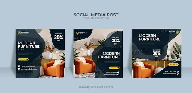 Les médias sociaux minimalistes instagram publient des meubles modernes à vendre modèle de bannière vecteur premium