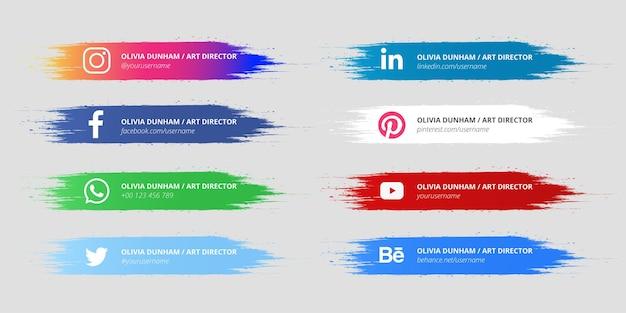 Médias sociaux modernes avec pack de conception de pinceaux