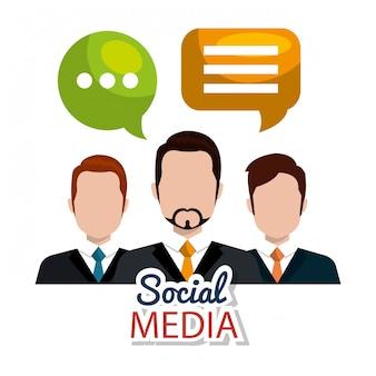 Médias sociaux, personnages avec des bulles