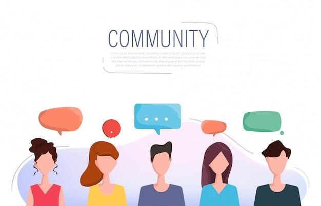 Médias sociaux personnes ayant un caractère de communication.