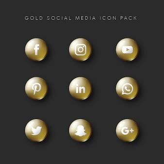 Les médias sociaux populer icon 9 set gold version
