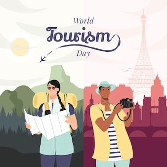 Médias sociaux post illustration design plat journée mondiale du tourisme