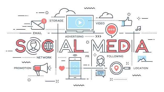 Médias sociaux, réseau, vidéo, marketing concept de fine ligne.
