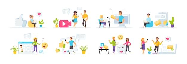 Les médias sociaux sont composés de personnages dans diverses scènes et situations.