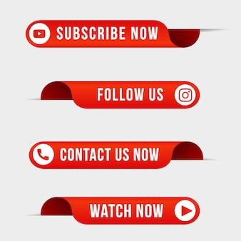 Les médias sociaux suivent le contact d'abonnement et regardent maintenant la collection de boutons