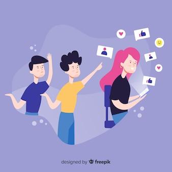 Médias sociaux tuant le dessin animé de concept d'amitié