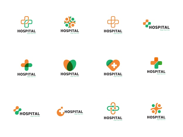 Medical & health logo template icon illustration set en croix, coeur, forme ronde