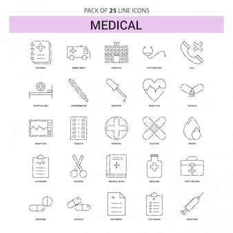 Medical line icon set - 25 style de contour en pointillés