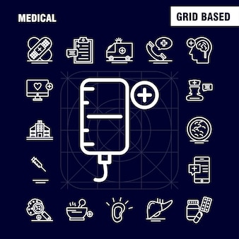 Medical line icons set pour infographie