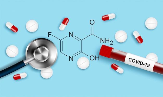 Médical. médicament antiviral. le favipiravir est efficace dans le traitement du coronavirus, covid-19. conception avec médicament, échantillon de sang infecté et stéthoscope sur fond bleu.