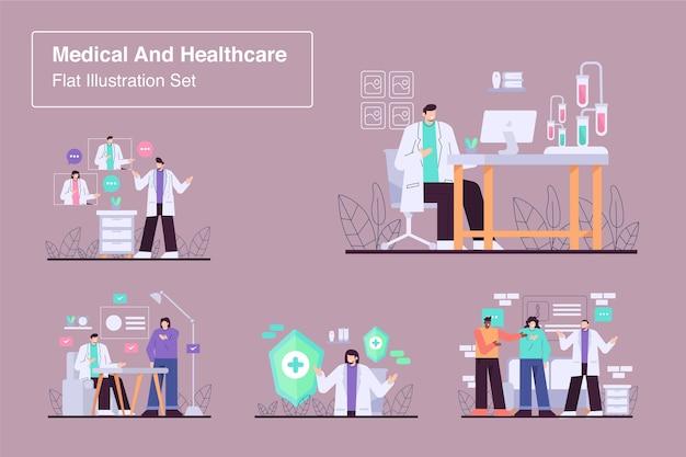 Médical et santé mis à plat illustration