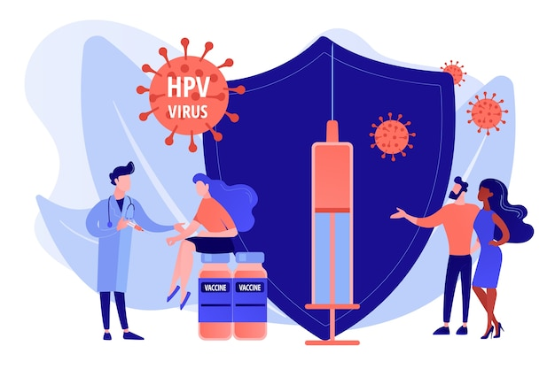 Médicament contre l'infection par le vph. prévention du virus. vaccination contre le vph, protection contre le cancer du col de l'utérus, concept de programme de vaccination contre le papillomavirus humain. illustration isolée de vecteur bleu corail rose