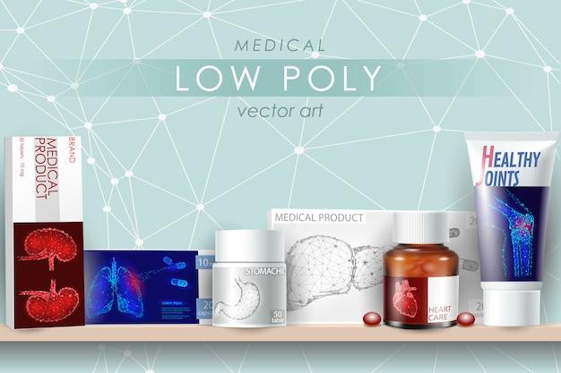 Médicament de médecine réaliste 3d maquette ensemble. capsule de bouteille en verre