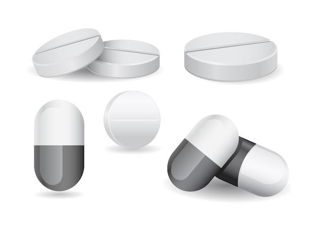 Médicament pilule comprimé médical 3d icône sur blanc