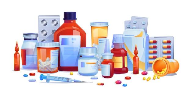 Médicaments comprimés et capsules mis icône isolé