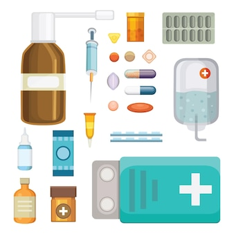 Médicaments de dessin animé. différentes pilules et bouteilles médicales, soins de santé et shopping, pharmacie, pharmacie. illustration dans un style plat