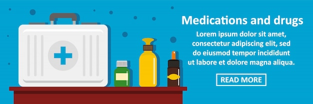 Médicaments et drogues bannière modèle horizontal concept