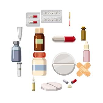 Médicaments drogues types icônes définies, style de bande dessinée