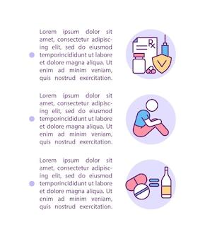 Médicaments pour les icônes de ligne de concept d'atténuation des symptômes de sevrage avec texte