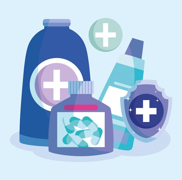 Médicaments prescription capsule pilules pommade tube médical soins de santé vaccination illustration