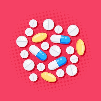 Médicaments de style plat. comprimés, gélules, médicament analgésique, antibiotiques, vitamines.