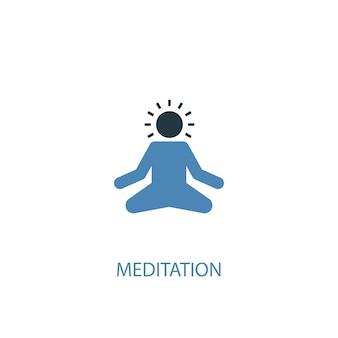 Méditation concept 2 icône de couleur. illustration de l'élément bleu simple. conception de symbole de concept de méditation. peut être utilisé pour l'interface utilisateur/ux web et mobile