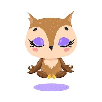 Méditation de hibou plat mignon dessin animé doodle. les animaux de la forêt méditent. yoga des animaux