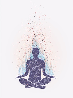 Méditation, illumination. sensation de vibrations. illustration colorée dessinée à la main.