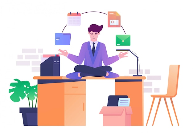 Méditation sur l'illustration plate de bureau