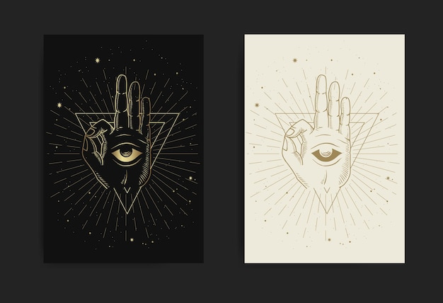Méditation main et œil intérieur avec gravure, dessin à la main, luxe, ésotérique, style boho, adapté au paranormal, lecteur de tarot, astrologue ou tatouage