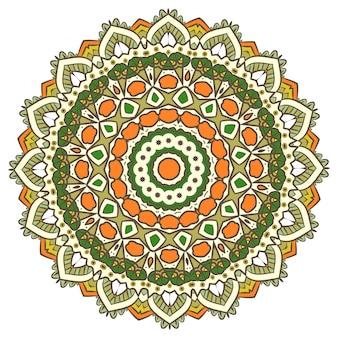La méditation de vecteur mandala ethnique fractal ressemble à un flocon de neige ou à un aztèque maya