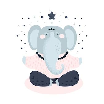 Méditation yoga éléphant mignon