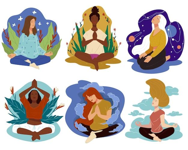 Méditation et yoga sports et bien-être vecteur