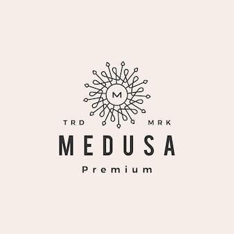 Medusa mandala m lettre hipster logo vintage icône illustration