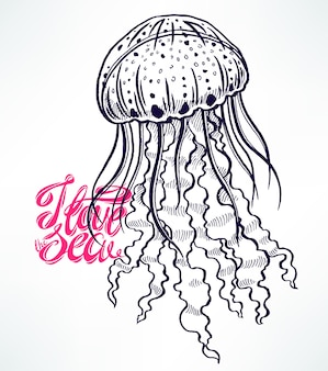 Méduse de croquis mignon. illustration dessinée à la main