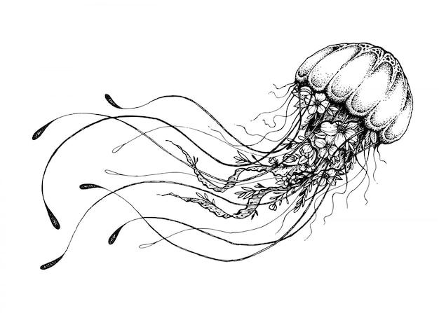 Méduse doodle dessiné à la main