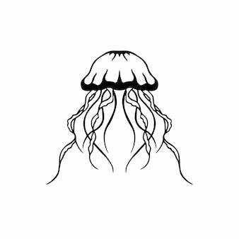 Méduse logo symbole pochoir conception tatouage illustration vectorielle