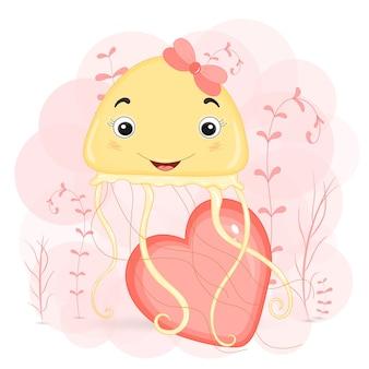 Méduse mignonne et coeur rose, illustration de dessin animé