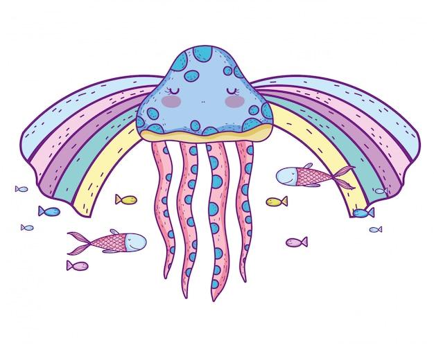 Méduse avec des poissons animaux sous l'eau et arc-en-ciel