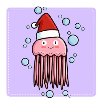 Méduse rose kawaii mignonne et drôle portant le chapeau du père noël pour noël
