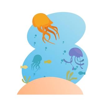 Méduse vue sous la mer vecteur premium